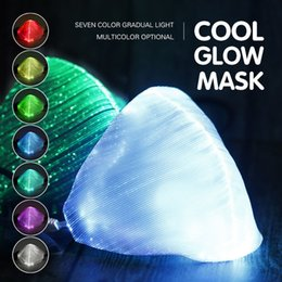 half face light up mask Australia - DHL Halloween Luminous Mask 7 Colors Glowing LED Face Masks for Christmas Halloween Light Up Party Festival Masquerade Rave Mask