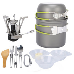 Venta al por mayor de Utensilios de cocina al aire libre Camping Senderismo Mochilero Picnic Utensilios de cocina Cocinar Sistema de herramientas Pot Pan + Piezo Ignición Bote Estufa Viaje de utensilios de cocina