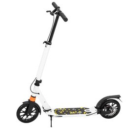 DE UK Bicycle Folding Scooter For Adults Kids 3 Height Adjustable Double Shock Absorber White
