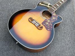 Toptan satış Sunburst Cutaway Katı Ladin J200 Akustik Gitar Kaplumbağa Pickguard Akçaağaç Vücut J200VS Guitarra