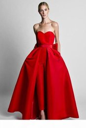 red carpet dresses for women UK - Two Pieces Formal Red Women Jumpsuits Evening Dresses Detachable Skirt Sweetheart Prom Dresses Party Wear Pants for Women With Bow Back