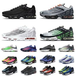 Wholesale tn 3 turned 2021 plus 2 big size us 12 running shoes tennis sports mens womens all black bright neon rugby white men women trainers outdoor jogging walking eur 36-46