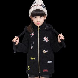 baby patch clothing 2021 - 2021 New Children Fashionable Patches Hoodie Ears Sweater for Baby Girl Winter Clothes Warm Wool Coat Mixtures Child Jac