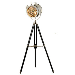 silver floor lamps Australia - Nordic American Retro Tripod Floor Lamp Silver Golden Wooden Industrial Searchlight Creative Studio Standing Light