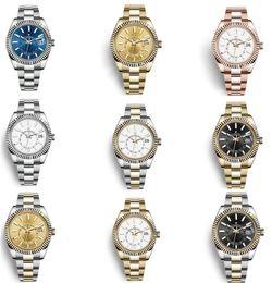 2021 Authentic Luxury Watch Mens Automatic Mechanical Calendar 42mm Stainless Steel Sky-Dweller GMT Men's Luminous Fashion Waterproo Top