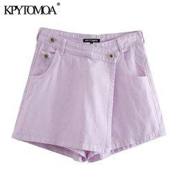 Wholesale wrapped skirts for sale - Group buy KPYTOMOA Women Chic Fashion Wrap Style Asymmetric Denim Shorts Skirts Vintage High Waist Side Pockets Female Skorts Mujer