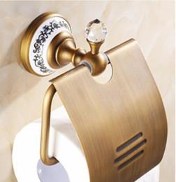 Crystal Bathroom Toliet Paper Holder Waterproof Tissue Holder Antique Brass YYS4669 on Sale