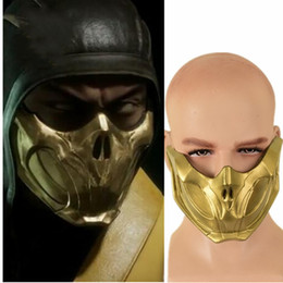 Wholesale mortal kombat games for sale - Group buy Game Mortal Kombat Scorpion Cosplay Golden Half Face Latex Women Men Halloween Party Mask