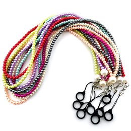 Wholesale Neck Lanyard Pearl Diamond Chain Strap Sling Hanging Portable Straps Necklace with silicone O ring for Disposable E-cigarettes Ecig Pods