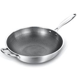 Panela revestida wok non-stick 304 aço inoxidável woks fritadas com alça cozinhar cozinha utensílios de cozinha em Promoção