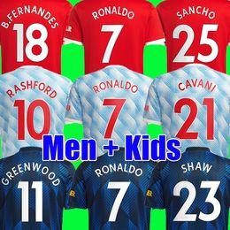 Ronaldo 21 22 Sancho Manchester Soccer Jersey United Fans Wersja Gracz Man Bruno Fernandes Lingard Pogba Rashford Koszula piłkarska UTD 2021 2022 Mężczyźni + Zestawy Zestawy dla dzieci