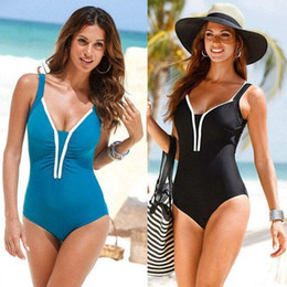 Wholesale free size womens swimwear for sale - Group buy Womens Plus Size Swimsuit Fashion Black One Piece Swimwear Summer Beach Wear Bathing Suit Ladies Clothes