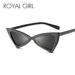 Discount cat eye frames rhinestones ROYAL GIRL Triangle Sunglasses Women 2021 New Rhinestone Butterfly Frame Cat Eye Sun Glasses Female Black Eyewear UV400 ss010