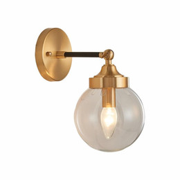 Wholesale gold applique iron for sale - Group buy Iron Adjustable Nordic Modern Wall lamp With Glass Ball Lampshade Gold Wandlamp Fixture Bedroom Mirror Light Applique Murale