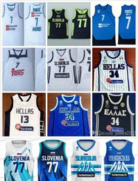 Slovenia basketball 77 Doncic #7 Luka Slovenija Real Madrid Euroleague Giannis G. Antetokounmpo #34 Greece National Hellas jerseys on Sale
