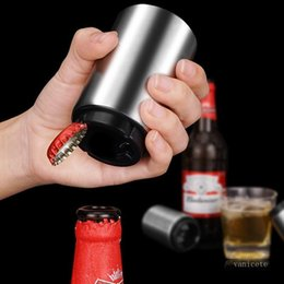 Discount bottle opener magnets Sea shipping Magnetic Automatic Beer Opener Stainless Steel Bottle Opener Portable Magnet Wine Openers Bar tool T2I51710