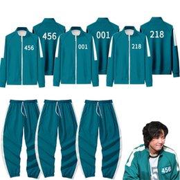Squid Game Jacket Pants Mens Tracksuits Round Six Men Women Party Costumes Cosplay Sports Zipper Cardigan Digital 456 Pattern Pocket Sweatshirt Set 2XS-4XL H1013 1pc