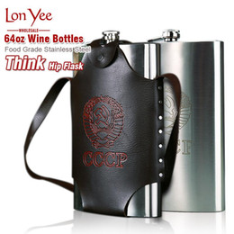 thick water bottles Canada - Thick Stainless Steel Rectangle Hip Flask With Portable Handbag Outdoor Large Capacity 64oz Metal Wine Bottles Flat Water Kettle YL0169
