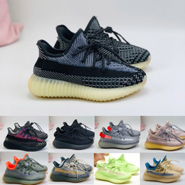 Preto cinzento carbono v2 malha respirável crianças running sapatos menino menina juventude kid sneaker sneaker tamanho 26-35 em Promoção