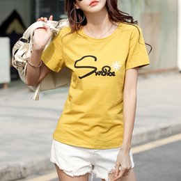 femme shirt UK - 2021 New Tee Shirt Femme Cotton T-shirt Women Summer Casual Letters Printer Tshirt Short Sleeve Tops Woman Clothes L87q