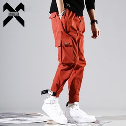 ingrosso harem pants rosso scuro-11 ByBB s Dark Mens Pantaloni laterali Harem Pants Hip Hop Casual Casual Black Red Maschio Joggers Pantaloni Streetwear Cargo Pant WA100 C0222