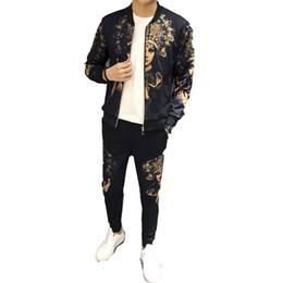 кофты для свитера оптовых-Jogging track sportswear spring jacket suit personality printing cardigan coat sweater casual sports suit