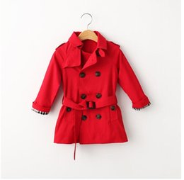 Wholesale Fashion Boys Girls Long Style Tench Coats Fall Winter Children Plaid Double-Breasted Jackets Kids Boy Outwear 1-12 Years