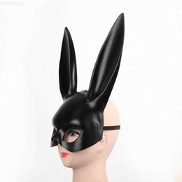rabbit woman sexy costume UK - White Ear Black Women Girl Sexy Rabbit Cute Bunny Long Ears Bondage Mask Halloween Masquerade Party Cosplay Costume Prop DBC VT094212