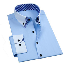 camisas de cuello abotonado doble al por mayor-Vestido para hombres camisas de manga larga Vestido formal Camisa de moda Doble collar Slim Fit Business Office Work Smart Casual Button Button