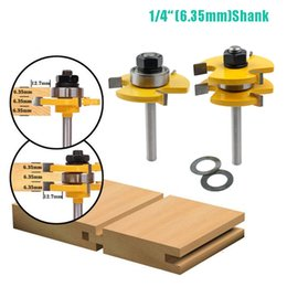 """Wholesale 6.35mm(1 4"""") Tongue Groove Joint Assembly Router Bit 3 4"""" Stock Wood Milling Cutter Tool for Wood Working JKXB2103"""