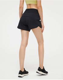 womens lu-33 yoga shorts pants pocket quick dry gym sports short high-quality 2021 style summer dresses Elastic waist on Sale