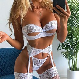Discount open cup lace 3PCS Women Sexy Lingerie Lace Open Cup Bra High waist G-string Thongs Garter Belt Underwear Babydoll Sleepwear Set