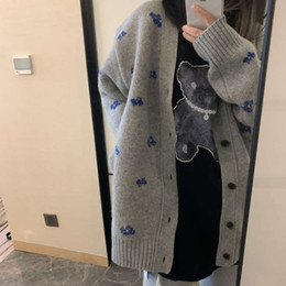 Wholesale grey wool cardigan for sale - Group buy Market differentiation Xu Mengjie s same ader error grey blue embroidery wool sweater cardigan jacket winter
