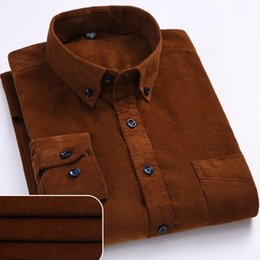 smart shirts men UK - Plus Size 6xl Autumn winter Warm Quality 100%cotton Corduroy Long Sleeved Button Collar Smart Casual Shirts for Men Comfortable