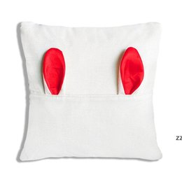 Sublimation Pocket Pillowcase Linen Easter Pillowcases Thermal Transfer Pocket Pillowcovers with Ears Pillow Cushion HWB8416 on Sale