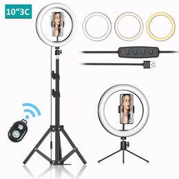 """venda por atacado Lâmpada de anel LED 10 """"Luz de anel de Selfie Dimmable com suporte de tripé e suporte de telefone para o telefone transmissão ao vivo compõem YouTube"""