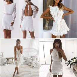 Wholesale bodycon lace dress resale online - Women Hollow Out White Lace Dress Spring O Neck Long Sleeve Backless Sexy Bodycon Sheath Evening Dresses Lady Party Dress Summer Autumn