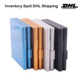 Caixa de cigarro de metal Liga de alumínio 20 pcs titular de cigarros armazenamento de armazenamento casos de tabaco Recipiente Qualidade do fumo 92 * 81mm Acessórios coloridos de fumo DHL Free em Promoção