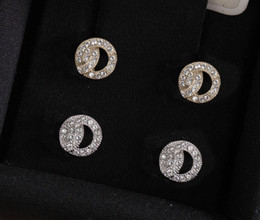 Wholesale Fashion gold diamond stud earrings aretes for lady Women Party Wedding Lovers gift engagement Jewelry for Bride with box have stamps