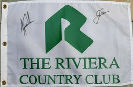 tiger woods  großhandel-Tiger Woods Jack Nicklaus The Riviera CC Auto Collection Unterzeichneten signierte signierte signierte signierte Open Masters Glof Pin Printed Flagge