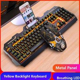 Venta al por mayor de Gaming Keyboard Mouse Heatphone Sensación mecánica RGB LED LED Backlit Gamer Teclados Teclado con cable USB para juegos PC portátil