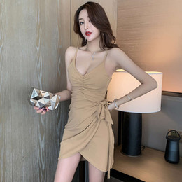 Wholesale night dress men sexy resale online - Suspender skirt new light mature style small man sexy temperament show thin lace up pleated tight buttock dress women s spring