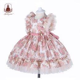 Yoliyolei espagnol lolita robe bébé robe broderie guiche de filles enfants enfant princesse 1er anniversaire vêtements vêtements nouvelles robes de filles 210315 en Solde