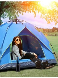 shade camping 2-3-4 people thick rainproof automatic tent spring type quick opening sunscreen Outdoor rest DWA7069 on Sale