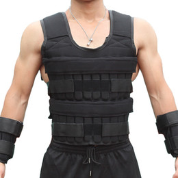 Wholesale vest weights resale online - 30KG Exercise Loading Weight Vest Boxing Running Sling Weight Training Workout Fitness Adjustable Waistcoat Jacket Sand Clothing W2
