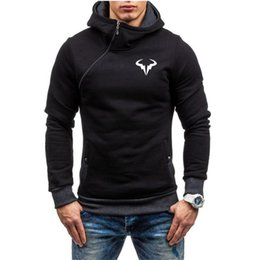 Wholesale oblique zipper hoodie for sale – custom Men s Hoodies Sweatshirts Nadal Tennis Player Men Autumn Winter Oblique Zipper Sports Sweatshirt Casual Fashion Outwear With Hooded T