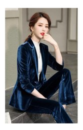 костюм женщина вельвет оптовых-XI Jiang Moon Fashion Suit Set Corduroy Suit Blazer Office Woman s Ascakale Blazer C95