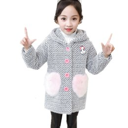 Discount baby patch clothing 2021 New Children Jacket Blend Outerwear for Girls Hood Wool Coat Elegant Baby Winter Clothes with Applique Heart Patche