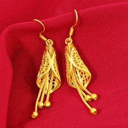Not Fade 22K Gold Jewelry Earring for Women Leaf Fringes Bizuteria Argent Bijoux Joyas Bijoux Femme Orecchini Garnet Jewelry
