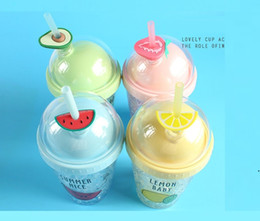 Wholesale water lemons resale online - 13 oz Fruit Ice Cup Plastic Water Bottle with Straw Lemon Watermelon Shaped Kids Water Cup Student Gift Tumbler AHA3677